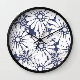 Summer Flowers Dark Blue Wall Clock