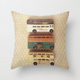 Fab Four Toy Buses Throw Pillow