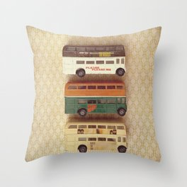 Fab Four Toy Buses Throw Pillow