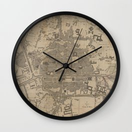 Vintage Map of Rennes France (1855) Wall Clock
