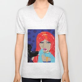 """Black Poodle"" Paulette Lust's Original, Contemporary, Whimsical, Colorful Art  Unisex V-Neck"