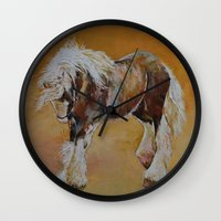pony Wall Clocks featuring Gypsy Pony by Michael Creese