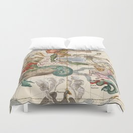 Vintage Constellation Map - Star Atlas Duvet Cover