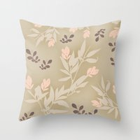 vintage flowers Throw Pillows featuring vintage flowers by Julia Tomova