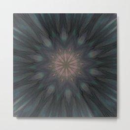 Elegant Feathery Feather Kaleidoscope Mandala  Metal Print