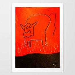 Red/Black Bull Art Print
