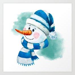 Blue Snowman 02 Art Print