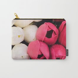 Avant-garde Pink Magenta and Pearlescent White Tulip Buds Carry-All Pouch