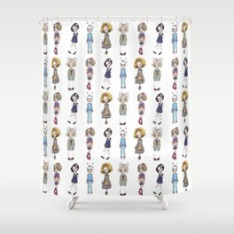 JAPANESSE DOLL ILLUSTRATION BY ALBERTO RODRÍGUEZ Shower Curtain