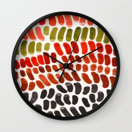 Autumn Colors Red Ochre Olive Green Watercolor Palette Natural Geometric Shapes Wall Clock