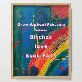 B!tches Love Book Fairs - Rainbow-large Serving Tray