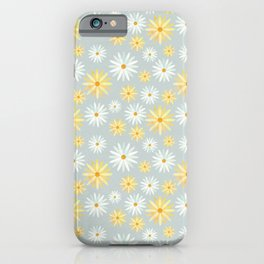 Watercolour Daisies Pattern   Grey iPhone Case