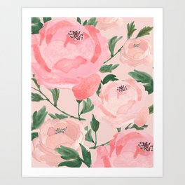 Watercolor Peonies with Blush Background Art Print
