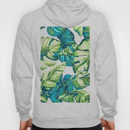 Colorful Tropical Leaves Of Banana and Monstera Hoody
