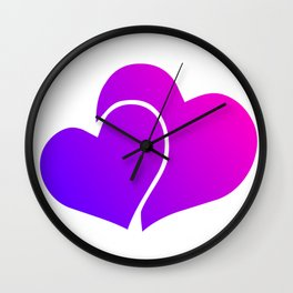Pink and Purple Gradient Double Hearts Wall Clock