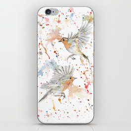 "Watercolor Painting of Picture ""Robins"" iPhone Skin"