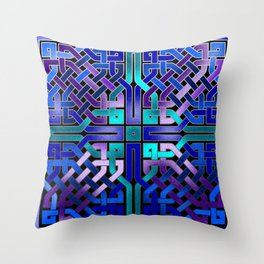 Blue Celtic Knot Square Throw Pillow