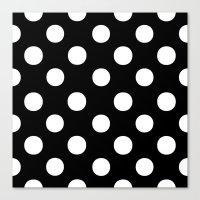 polka dots Canvas Prints featuring Polka Dots (White/Black) by 10813 Apparel