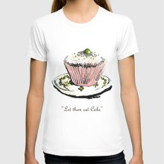 Let Them Eat Cake SMALL Womens Fitted Tee White