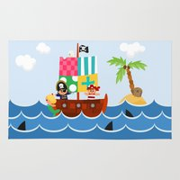 pirate ship Area & Throw Rugs featuring PIRATE SHIP (AQUATIC VEHICLES) by Alapapaju