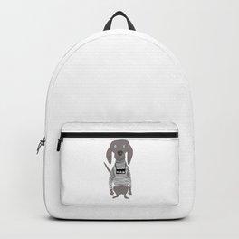 Weim Jailbird Grey Ghost Weimaraner Dog Hand-painted Pet Drawing Backpack