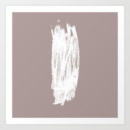 Simple Minimalistic White Brushtrokes on Beige Art Print