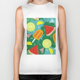 Watermelon, Lemon and Ice Lolly Biker Tank