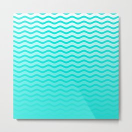 Bright Turquoise and White Faded Chevron Wave Metal Print