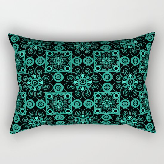 Turquoise and black pattern . Rectangular Pillow