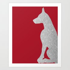 Doberman Dog in silver glitter Art Print
