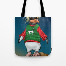 Rockhopper Penguin in Ugly Christmas Sweater Tote Bag