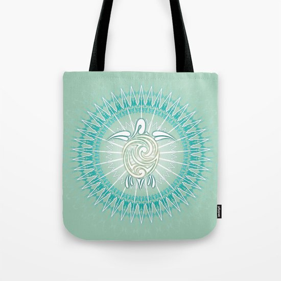 Turquoise Green Turtle And Mandala Tote Bag