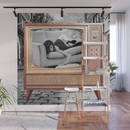 You go back to her ... And I go Back to Black; Female Form Portrait Painting of Heartbreak and Forlorn Wall Mural