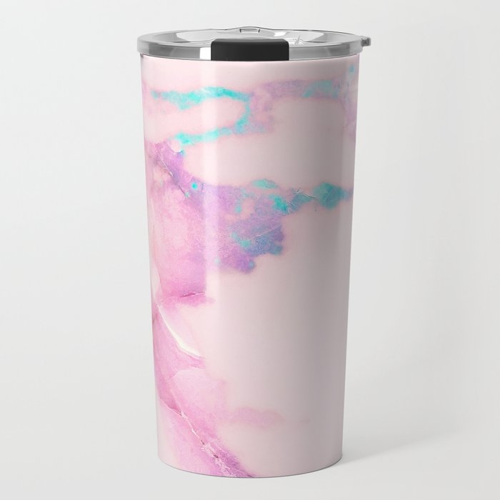 Pink Iridescent Vein Marble Travel Mug