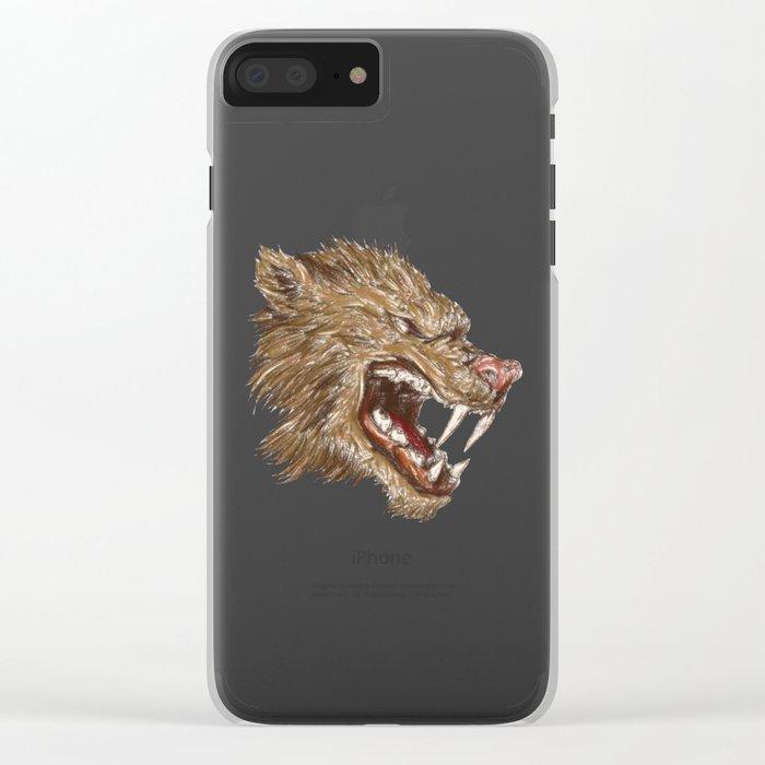 Head with sharp teeth Clear iPhone Case