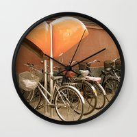 bikes Wall Clocks featuring Bikes, bikes, bikes by Anything et Everything by Nina L.