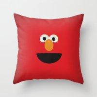 elmo Throw Pillows featuring Sesame Street Vintage Nursery Art Elmo Retro Style Minimalist Poster Print by The Retro Inc