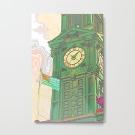 The Flag and The Clock Metal Print