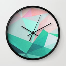 Geometric Landscape - Pink and Green Wall Clock
