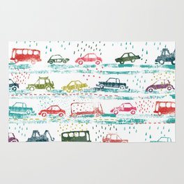 cars in the rain Rug