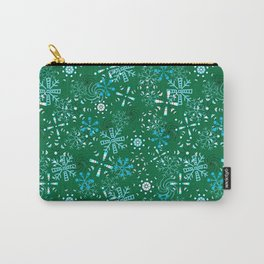 Snowflakes Falling Green Background, Christmas and Holiday Fantasy Collection Carry-All Pouch