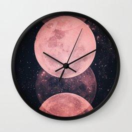 Pink Moon Phases Wall Clock
