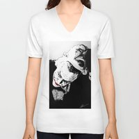superheros V-neck T-shirts featuring Man Behind The Mask by KODYMASON