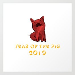 Chinese New Year 2019 Year Of The Pig Watercolor Pig Art Print