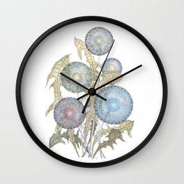 Dandelions watercolor painting Wall Clock