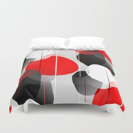 Modern Anxiety Abstract - Red, Black, Gray Duvet Cover