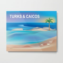 Turks and Caicos - Skyline Illustration by Loose Petals Metal Print
