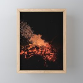 Fire flames and heat at night Framed Mini Art Print