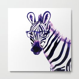 Zebra with glasses, purple Metal Print