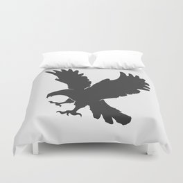 vector silhouette flying eagle on a white background Duvet Cover